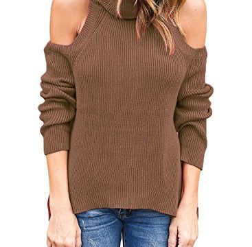 Astylish Women High Neck Cut Out Cold Shoulder Ribbed Knit Sweater Pullover Top Khaki Medium