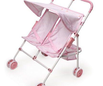 Badger Basket Folding Double Doll Umbrella Stroller – Pink Gingham fits American Girl dolls