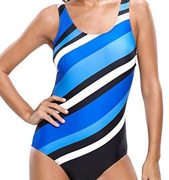Dokotoo Womens Stripes Color Block One Piece Bathing Suit Swimsuit Monokini Blue L