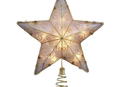 Kurt Adler 10-Light Reflector Star Treetop, 8.5-Inch, Gold
