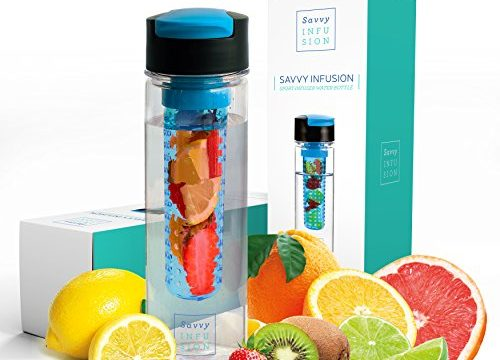 Includes Bonus Recipe Ebook – Savvy Infusion Flip Top Fruit Infuser Water Bottle – 24 Oz – Featuring Unique Leak Proof Lid