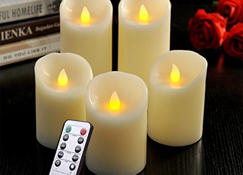 LED Flameless Candle Set of 5, Real Wax Battery Pillar Candles with Remote & Timer, Flickering Flame Electric LED Candles, for Home Decoration, Party, Wedding, Birthday-Amber Yellow Vanilla Scent