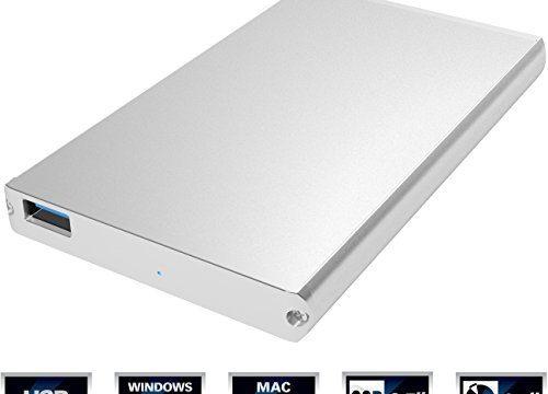 Sabrent Ultra Slim USB 3.0 to 2.5-Inch SATA External Aluminum Hard Drive Enclosure Optimized For SSD, Support UASP SATA III Silver EC-UM30
