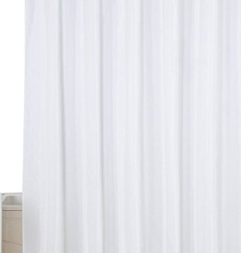 Utopia Home Water-Repellent Antibacterial and Mildew Resistant Fabric 72-Inch-by-72-Inch Shower Curtain, White