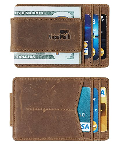 NapaWalli Genuine Magnetic Napa Leather Front Pocket Money Clip Slim Minimalist Wallet Made with Powerful RARE EARTH Magnets Plus RFID Blocking Hunter Khaki