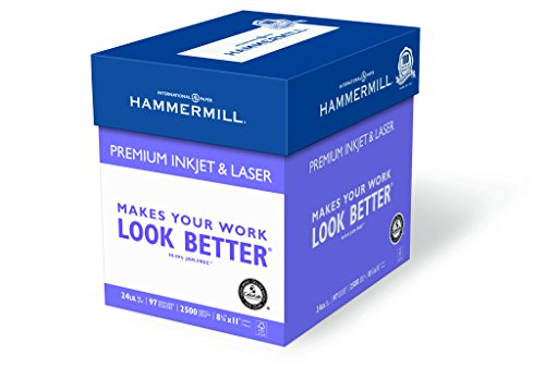 Hammermill Paper, Premium Ink & Laser Poly Wrap, 24lb, 8.5×11, Letter, 97 Bright 2500 Sheets / 5 Ream Case 166140C Made In The USA
