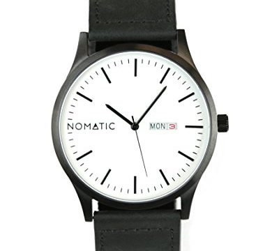 The Nomatic Leather Band Water Resistant Watch – White and Black
