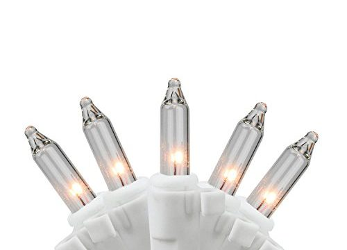 LB International 50 Clear Mini Replacement Christmas Lights with Clips for Yard Art Decorations