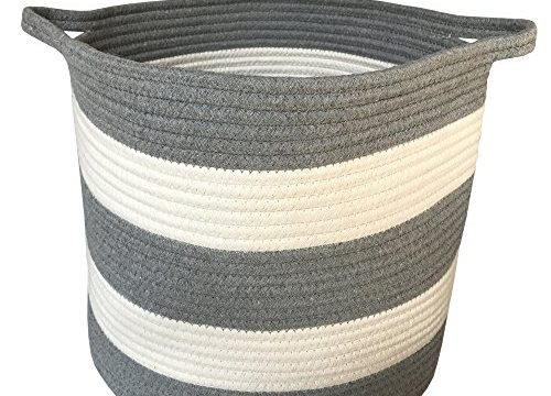 M2 Home Accessories Cotton Rope Storage Basket with Handles for Laundry, Kid's Toys, Nursery, Home Decor, Closet Organization, etc. 15 x 13 White & Light Gray