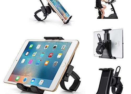 AboveTEK All-In-One Cycling Bike iPad/iPhone Mount, Portable Compact Tablet Holder for Indoor Gym Handlebar on Exercise Bikes & Treadmills, Adjustable 360° Swivel Stand For 3.5-12″ Tablets/Cell Phones
