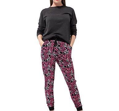 Bentibo Women's Stylish Multi Pattern Printed Jogger Leggings Harem Pants Hot Pink M