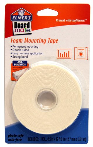 Elmers Board Mate Foam Mounting Tape 0 5 X 150 Roll E151