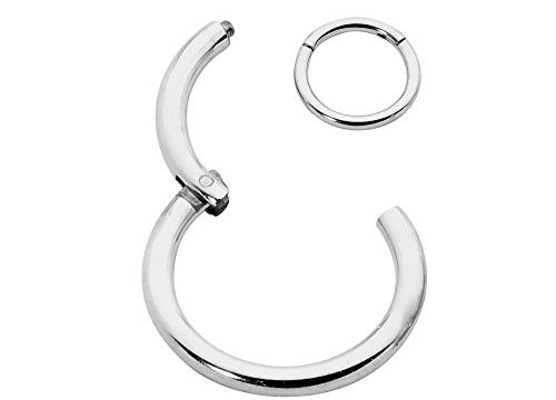 365 Sleepers Solid Sterling Silver SINGLE 3//8 10mm 18G Hinged Hoop Unisex Nose