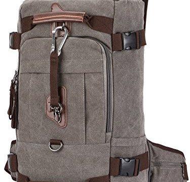 """Travel Backpack, Aidonger Vintage Canvas Hiking Daypack Shoulder Bag 15"""" Laptop Backpack (Gray-58"""