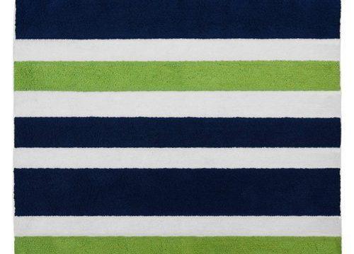 Sweet Jojo Designs Navy Blue Green White Accent Floor Rug for Stripe Kids Teen Bedding Collection