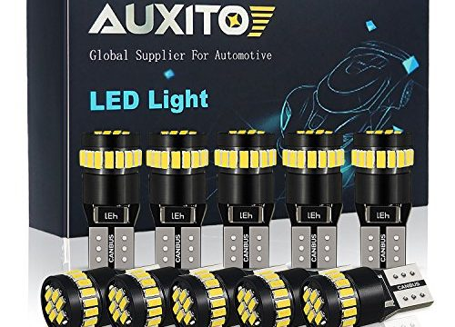 AUXITO 194 LED Light Bulb 6000K White Super Bright 168 2825 W5W T10 Wedge 24-SMD 3014 Chipsets LED Replacement Bulbs Error Free for Car Dome Map Door Courtesy License Plate Lights Pack of 10