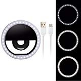 Selfie Ring Light,Hshenda 36 LED Ring Light Clip On Ring Light for Phone Camera USB Rechargable Selfie LED Camera Light for iPhone iPad Smart Phones