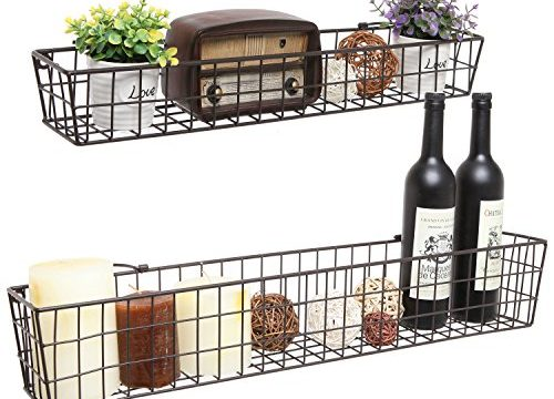 Set of 2 Brown Country Rustic Wall Mounted Openwork Metal Wire Storage Basket Shelves/Display Racks