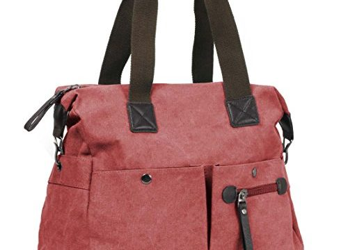 BMC Womens Textured Canvas Multi Pocket Shoulder Tote Fashion Handbag