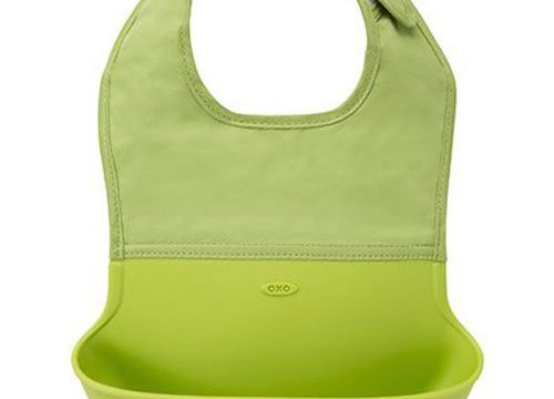 OXO Tot Waterproof Silicone Roll Up Bib with Comfort-Fit Fabric Neck, Green