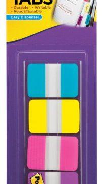 Post-it Tabs, 1-Inch Solid, Aqua, Yellow, Pink, Violet, 22/Color, 88 per Dispenser 686-AYPV1IN