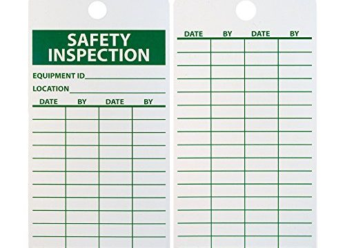 "NMC RPT170 Accident Prevention Tag, ""SAFETY INSPECTION"", 3″ Width x 6″ Height, Unrippable Vinyl, Green on White Pack of 25"
