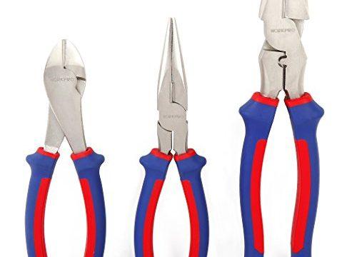 WORKPRO Pliers Set 3-Piece Big Size 7-inch Diagonal Plier, 8-inch Long Nose Plier, 9-inch Linesman Plier