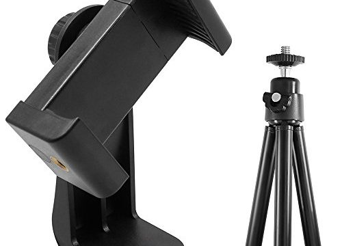 AFUNTA Cell Phone Stand Tripod Compatible iPhone 7 Plus, 7, 6, 6 Plus, 5, HTC Samsung LG, Universal Smartphone Holder Mount, 1/4″-20 Rotatable Vertical Bracket and 3.5″-6.1″ Telescopic Tripod Monopod