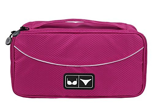 BAGSMART Travel Gear Luggage Packing Cube Lingerie Travel Case Bra Underwear Bag, Rose red