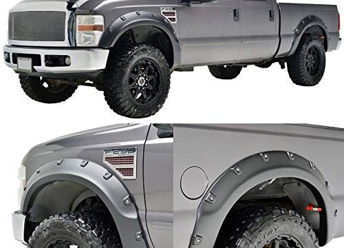 EAG 08-10 Ford Super Duty F250/F350 Fender Flares for 18291 4PCS Textured Black Pocket Rivet Style ABS
