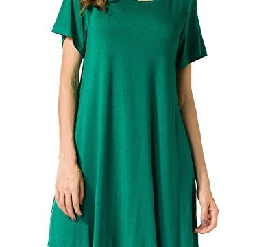 JollieLovin Women's Tunic Top Casual Short Sleeve Swing Loose T-Shirt Dress Deep Green, 1X