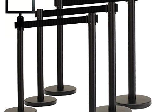 VIP Crowd Control Retractable Belt Queue Stanchion Barrier Set, 36″ Ht, 78″ Black Belt + Wall Bracket 6 Posts Belt+SFrame+WBracket