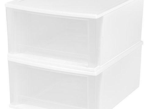 IRIS 32 Quart Stacking Drawer, 2 Pack, White