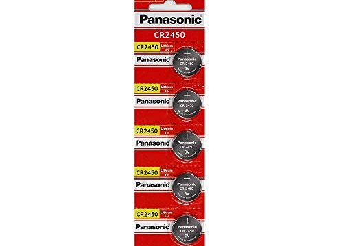 Panasonic CR2450 Lithium Battery 3V 5 Batteries Per Pack