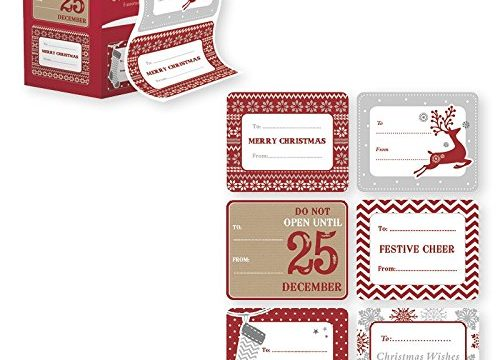 60 Pack of Jumbo Christmas Gift Tag Stickers – Great for Wrapping Paper and Gift bags