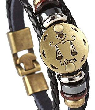 Hamoery Punk Alloy Leather Bracelet for Men Constellation Braided Rope Bracelet Bangle WristbandLibra