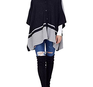 Lookbook Store LookbookStore Women's Oversize Button Chunky Hooded Sweater Poncho Cardigan Cape