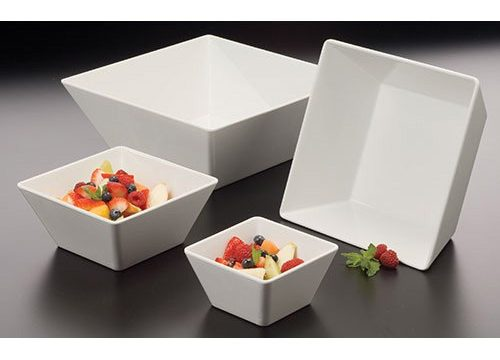 American Metalcraft MELSQ94 Melamine 9.5″ Square Bowl, 125-Ounce, White