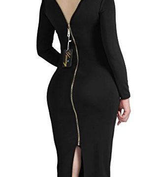 YMING Womens Sexy Long Sleeves Crewneck Bodycon Bandage Midi Evening Dresses,Black,S