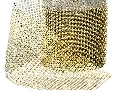 Royal Imports Rhinestone Ribbon Diamond Bling Sparkle Wrap Bulk for Event & Party Decorations, Wedding Cake, Bridal Shower, Birthdays, Arts & Crafts 30 Ft, 1 Roll Gold