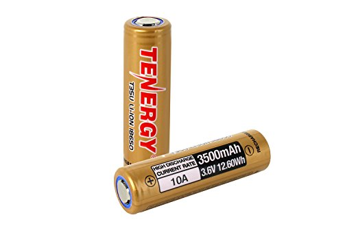 2 Pack – Tenergy T35U 18650 Battery, 3.6V 3500mAh 10A 12.6Wh 18650 High Capacity Battery, High Drain & Flat Top Li-ion Replacement 18650 Battery for Flashlight