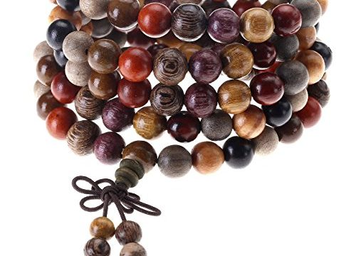 Top Plaza Unisex 108 Natural Wood 6mm 8mm Beads Bracelet Buddhist Rosary Mala Necklace8mm Sandalwood Duobao