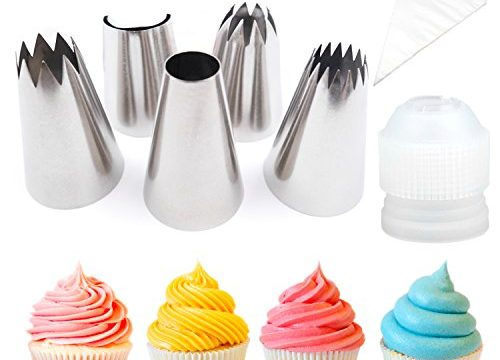 Pridebit Cupcake/Cake Decorating Tips 5 Extra Large 4 Classic Tips+1 Ruffle Tip Stainless Steel Piping Icing Tips 1 XL COUPLER 10 Disposable Pastry Bag