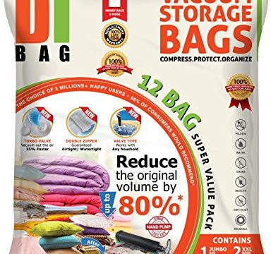 Bag Size: Jumbo XL XXL & Medium – DIBAG® Space Saver Vacuum Storage Bags – 2X Sealed Compression Plastic Bags for Clothing Storage, Clothes Bedding & Packing – 12 Premium Travel Space Bags