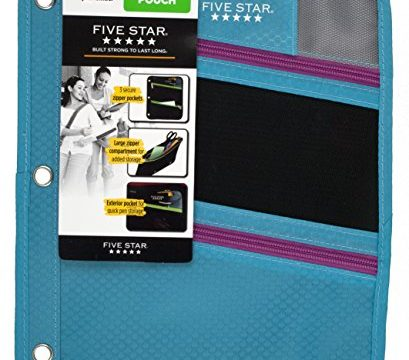 Five Star Zipper Pouch, Pencil Pouch, Pen Holder, Fits 3 Ring Binders, Assorted, Color Will Vary 50642