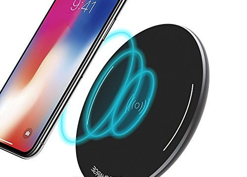 Qi Fast 10W Universal Wireless Charging Pad Aluminum Alloy Anti-Slip Strap Mat for Samsung Galaxy S8/S8+/S7 Edge/S7/Note 8/ iPhone X/ 8/ 8 Plus
