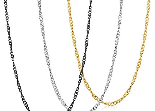 FIBO STEEL 1.5MM Stainless Steel Twist Chain Necklace for Men Women 3 Pcs a Set 14-36 inches