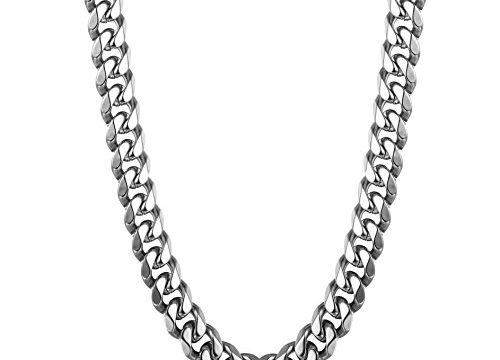 Thunaraz 9mm Stainless Steel Chain Necklace for Man Women Curb Link Chain 26Inches