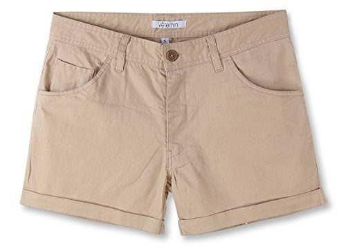 Vetemin Women's Juniors Comfy Fitted 5-Pocket Cuffed Casual Walking Chino Shorts