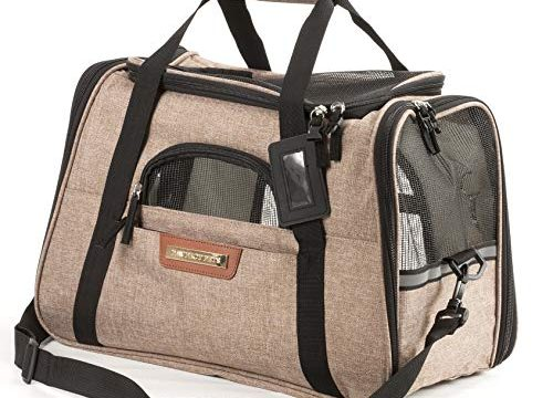 Pawfect Pets Pet Travel Carrier, Soft-Sided with Two Pet Mats for Small Dogs and Cats Khaki